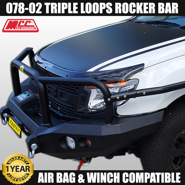 MCC4x4 078-02 Triple Loop Rocker Bull Bar To Suit Ford Ranger PX MK I 10/2011 - 05/2015 With Side Steps, Rails, Winch & Mounting Plate
