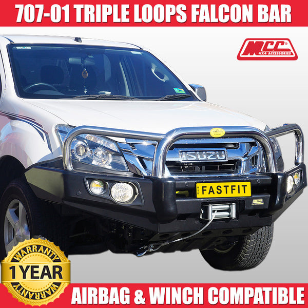 MCC4x4 707-01 Stainless Steel Triple Loops Falcon Bull Bar To Suit Isuzu D-Max 2012 ON