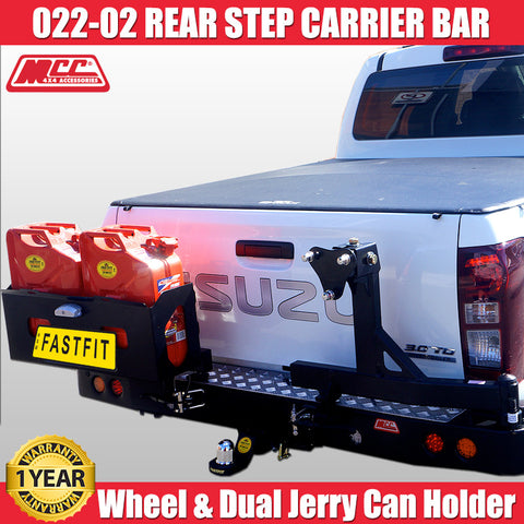 MCC4x4 022-02 Rear Step Carrier Bar With Single Wheel Carrier & Double Jerry Can Holder To Suit Isuzu DMax - 2012 ON