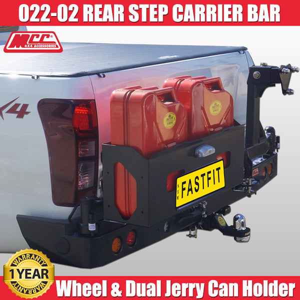 MCC 022-02 Rear Carrier Bar with Single Wheel & Double Jerry Can Holder to suit Isuzu D-Max 07/2012-2016