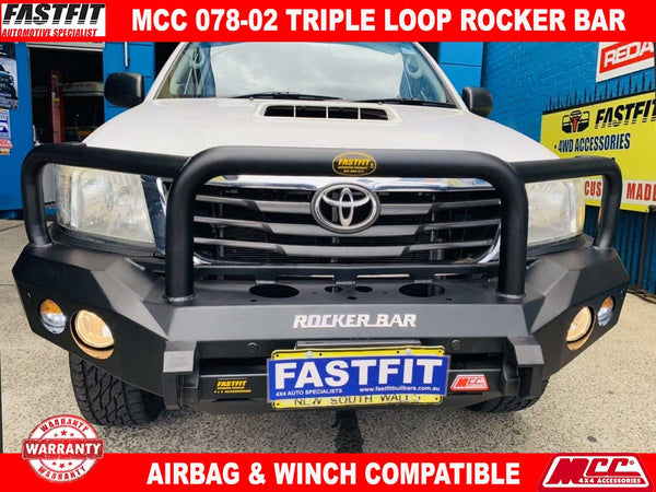 MCC 078-02 Triple Loop Rocker BullBar to suit Toyota Hilux 07/2011-09/2015
