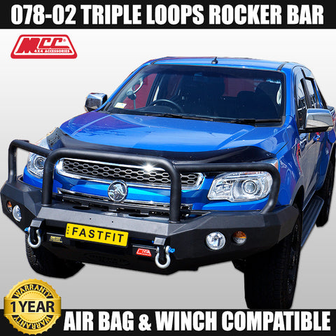 MCC4x4 078-02 Triple Loop Rocker Bull Bar To Suit Holden Colorado RG - 2012 ON