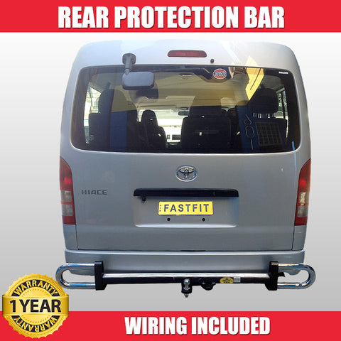 FastFit Steel Black and Chrome Rear Protection Bar To Suit Toyota Hiace -  03/2003 - 02/2014
