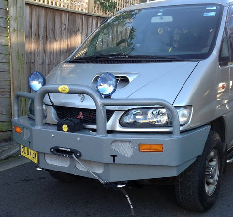 FastFit Charcoal Grey Powder Coated Alloy Bumper Replacement Bull Bar To Suit Mitsubishi Delica Series 3