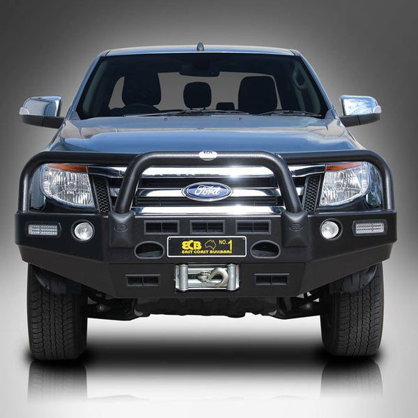 ECB Black Powder Coated Bumper Replacement Bull Bar To Suit Ford Ranger PX 4WD & 2WD - 10/2011 ON