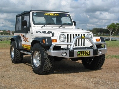 ECB Polished Alloy Bumper Replacement Big Tube™ Bull Bar To Suit Jeep Wrangler TJ All Model Variants
