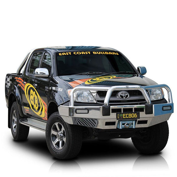 ECB Polished Alloyed Bumper Replacement Bull Bar To Suit Toyota Hilux SR & Workmate 2 & 4WD - 03/2005 - 07/2011