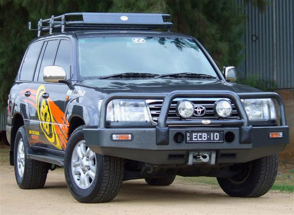 ECB Polished Alloy Bumper Replacement Bull Bar To Suit Toyota Landcruiser 100 Series