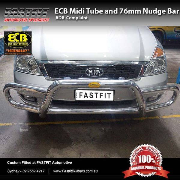 ECB Midi Tube and 76mm Nudge Bar to Suit KIA Grand Carnival 2001-2006