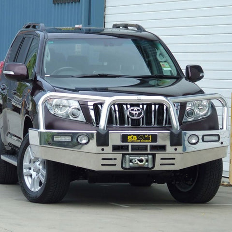 ECB Polished Alloy Bumper Replacement Bull Bar To Suit Toyota Prado 150 Series - 11/2009 -09/2013