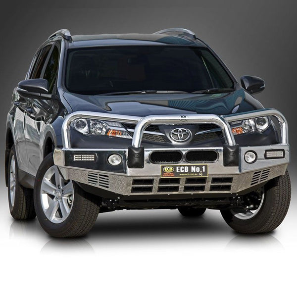 ECB Polished Alloy Bumper Replacement Bull Bar To Suit Toyota RAV4 - 2013 ON