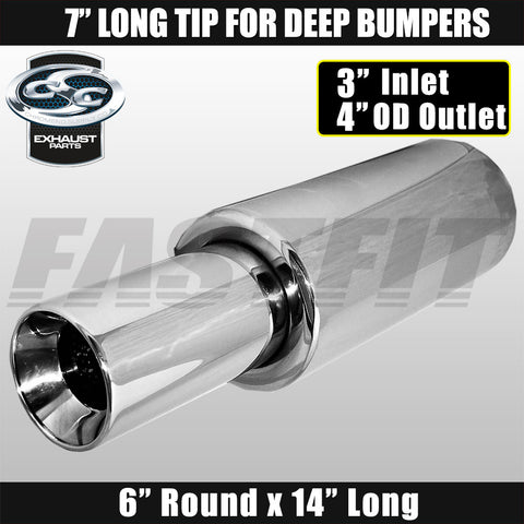 "Fastfit CSC Stainless Steel Universal Cannon Muffler 6"" Round x 14"" Long - 3"" Inlet x 4"" OD Outlet x 7"" Long"