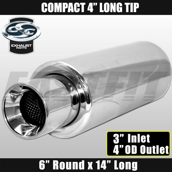 "Fastfit CSC Stainless Steel Universal Cannon Muffler 6"" Round x 14"" Long - 3"" Inlet x 4"" OD Outlet x 4"" Long"