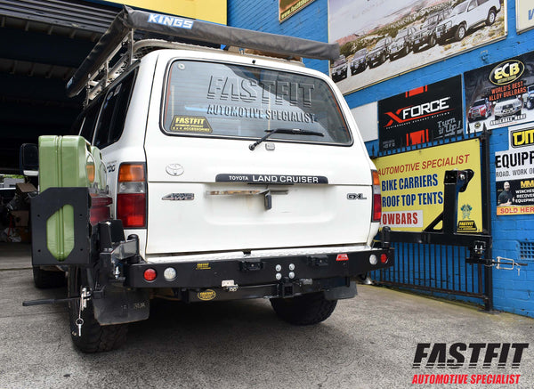 MCC 022-02 Rear Carrier Bar with Single Wheel & Double Jerry Can to suit Toyota LandCruiser VX 80