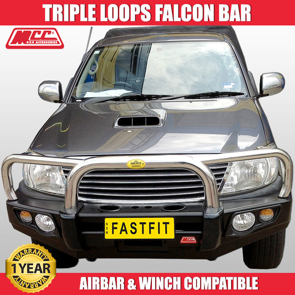 MCC 707-01 Stainless Steel Triple Loops Falcon Bullbar to suit Toyota Hilux 07/2011-09/2015