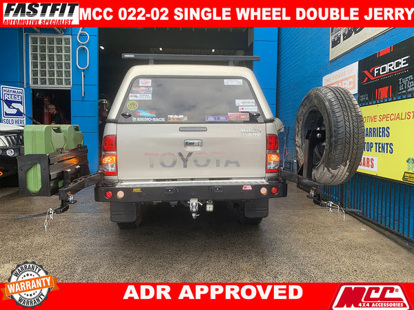 MCC 022-02 SINGLE WHEEL AND DOUBLE JERRY CAN HOLDER TO SUIT ON HILUX 2013