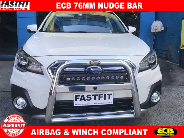ECB 76mm Nudge Bar POLISHED to suit Subaru OUTBACK 12/2017-11/2020