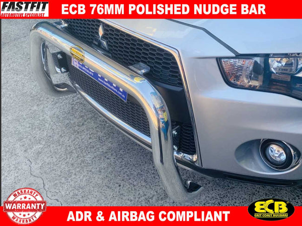 ECB 76MM Nudge Bar POLISHED to suit Mitsubishi ZH OUTLANDER 9/2009-10/2012