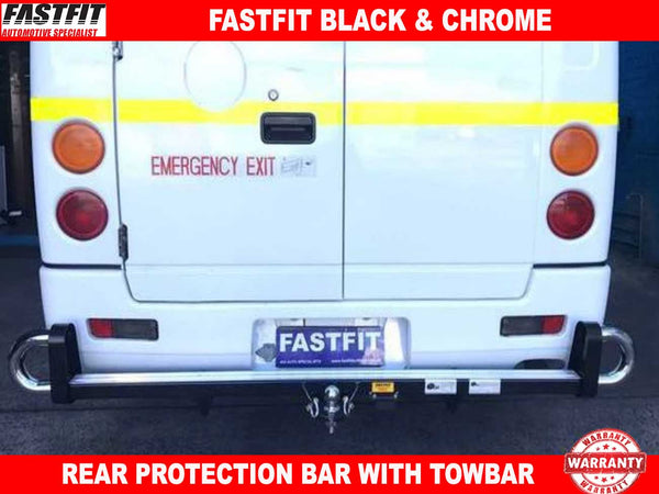 FastFit Black & Chrome Rear Towbar Protection Bar to suit Mitsubishi Fuso Bus 06/2008-ON
