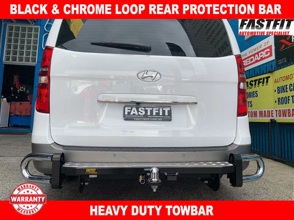 FastFit Black & Chrome Loop Rear Bar to suit Hyundai iLoad 2008-ON