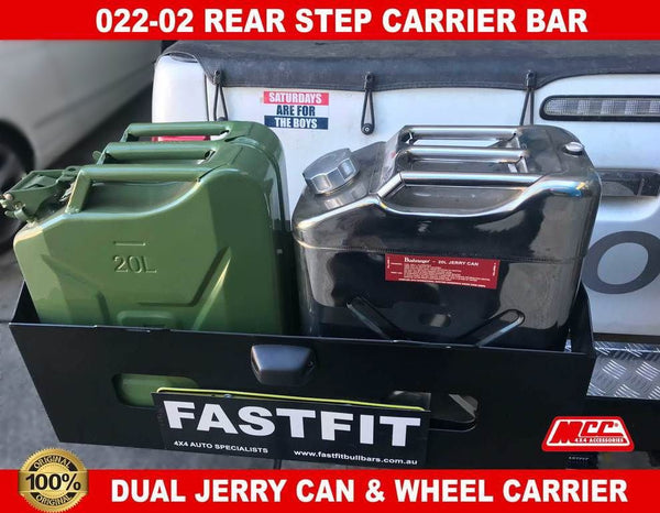 MCC 022-02 Rear Carrier Bar with Single Wheel Carrier & Double Jerry Can to suit Toyota Hilux 07/2011-09/2015