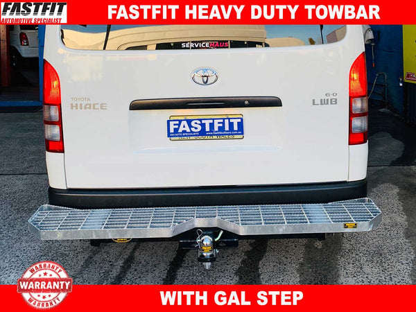 FastFit Heavy Duty Tow Bar with Gal Step to suit Toyota Hiace LWB 03/2005-02/2014