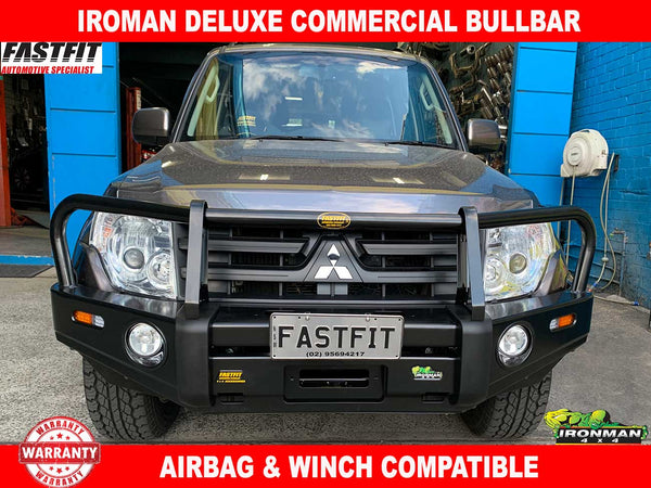 IRONMAN Deluxe Commercial Black Bullbar to suit Mitsubishi Pajero 2011-ON