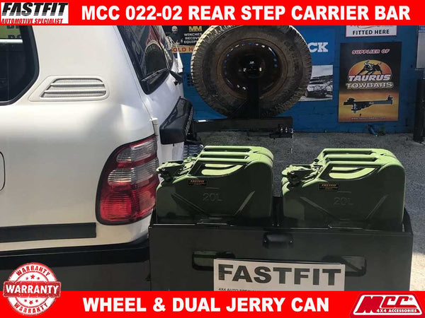 MCC 022-02 Rear Carrier Bar with Single Wheel Double Jerry Can Holder to suit Toyota LandCruiser 100s 1998-11/2007