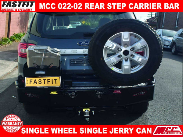 MCC 022-02 Rear Step Carrier Bar with Single Wheel Carrier & Single Jerry Can Holder to suit Ford Everest 10/2015-2018