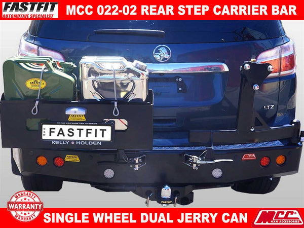 MCC 022-02 Rear Step Carrier Bar with Single Wheel Carrier & Double Jerry Can Holder to suit Holden Colorado 7 2017-ON