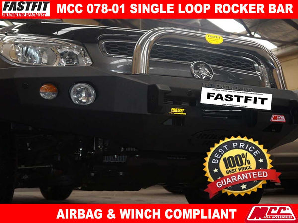 MCC 078-01 Single Loop Stainless Steel Rocker BullBar to suit Holden Colorado RC 07/2008-06/2012