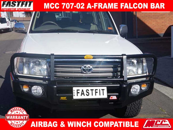 MCC 707-02 Falcon A-FRAME BullBar with Fog Lights to suit Toyota Land Cruiser 100s 1998-11/2007