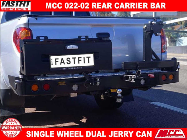 MCC 022-02 Single Wheel And Dual Jerry Can Carrier Rear Bar to suit Mitsubishi Triton MN 08/2009-08/2015
