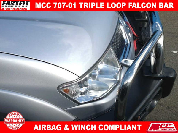 MCC 707-01 Stainless Steel Triple Loop Falcon BullBar to suit Mitsubishi Challenger PB 12/2009-12/2015