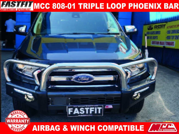 MCC 808-01 Stainless Steel Triple Loops Phoenix Bullbar to suit Ford Ranger PX 2012-2015