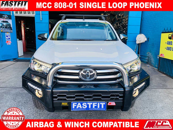 MCC 808-01 Phoenix Single Loop Stainless Steel Bullbar to suit Toyota HILUX 10/2015-ON