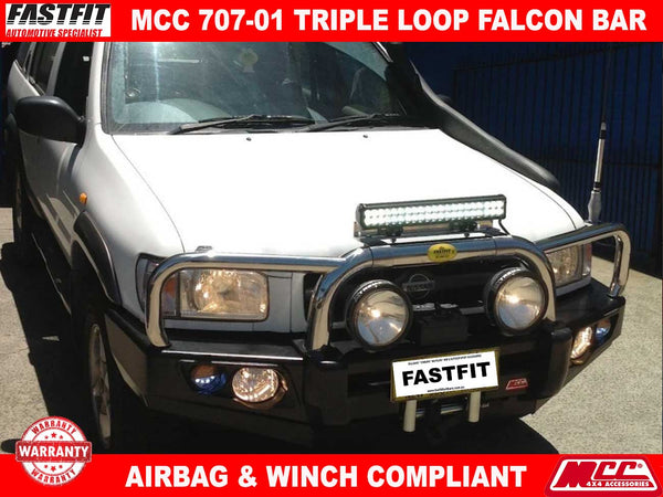 MCC 707-01 Stainless Steel Triple Loop Falcon BullBar to suit Nissan Pathfinder R50 02/1999-06/2005