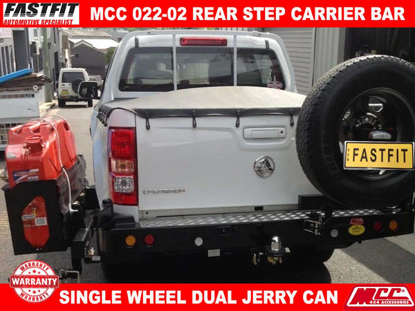 MCC 022-02 Rear Step Carrier Bar with Single Wheel Carrier & Double Jerry Can Holder to suit Holden Colorado RG 06/2012-2016