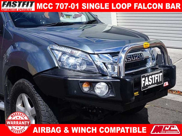 MCC 707-01 Stainless Steel Single Loop Falcon BullBar to suit Isuzu D-MAX 10/2008-07/2012
