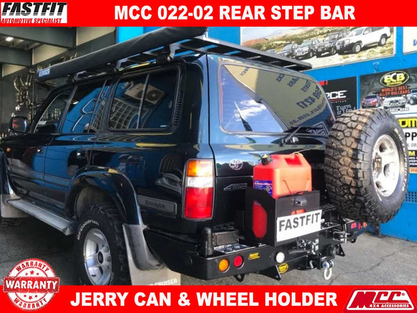 MCC 022-02 Rear Step Carrier Bar with Single Wheel Carrier & Single Jerry Can Holder to suit Toyota LandCruiser 80s 1990-1997