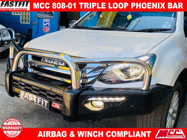 MCC 808-01 Stainless Steel Triple Loop Phoenix Bullbar to suit ISUZU MU-X 2017-ON