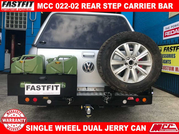 MCC 022-02 Rear Step Carrier Bar with Single Wheel Carrier & Double Jerry Can Holder to suit Volkswagen Amarok 03/2011-ON