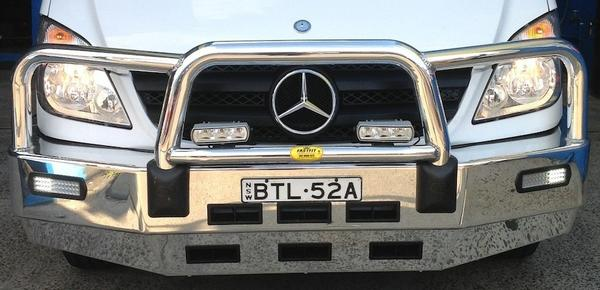 ECB POLISHED BIG TUBE BAR WITH BUMPER LIGHTS to suit MERCEDES Benz Sprinter 10/2013-10/2018