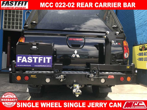 MCC 022-02 Single Wheel & Single Jerry Can Carrier Rear Bar to suit Mitsubishi Triton MN 08/2009-08/2015