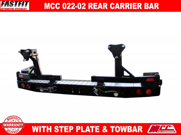 MCC 022-02 Rear Carrier Bar with Single Wheel Single Jerry Can to suit ISUZU MU-X 11/2013-2016