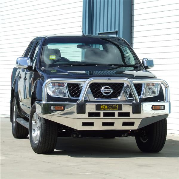 ECB Polished Alloy Bumper Replacement Bull Bar to suit Nissan Navara D40 2010-ON