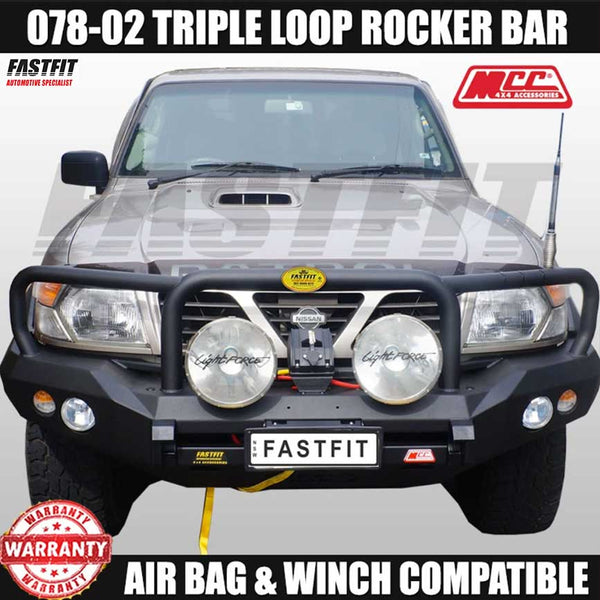 MCC 078-02 Triple Loop Rocker Bull Bar to suit Nissan Patrol GU Y61 12/1997-09/2004