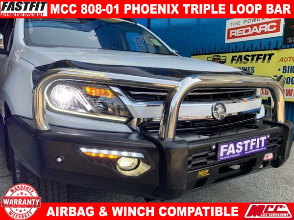 MCC 808-01 Stainless Steel Triple Loop PHOENIX Bullbar to suit Holden Trail Blazer/Colorado 7 wagon 12/2012-2016
