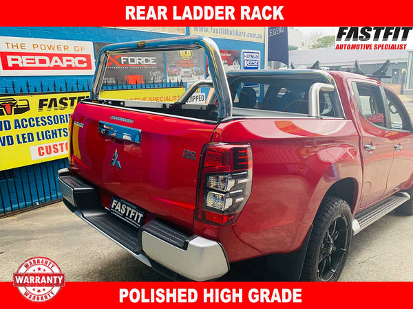 FastFit Polished Rear Ladder Rack to suit Mitsubishi Triton MR 2019