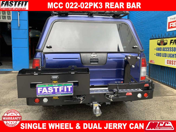 MCC 022-02 Single Wheel & Dual Jerry Can Carrier Rear Bar to suit Nissan Navara D22 01/1998-2015
